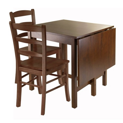 3 Piece Lynden Set Drop Leaf Dining Table With Ladder Back Chairs