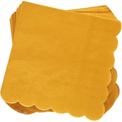 Juvale 100 Pack Mustard Yellow Scalloped Disposable Paper Cocktail Napkins 5 x 5 Folded, 2 Ply