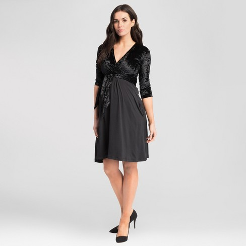 15f3b2c3f0 Maternity V-Neck Nursing Dress - Expected By Lilac - Black Velvet   Target