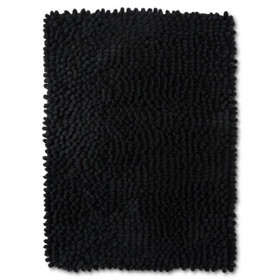 24  x 17  Chunky Chenille Memory Foam Bath Rug Black - Room Essentials™