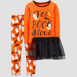 Toddler Girls' 4pc Halloween Tutu Pajama Set - Just One You® made by carter's Orange