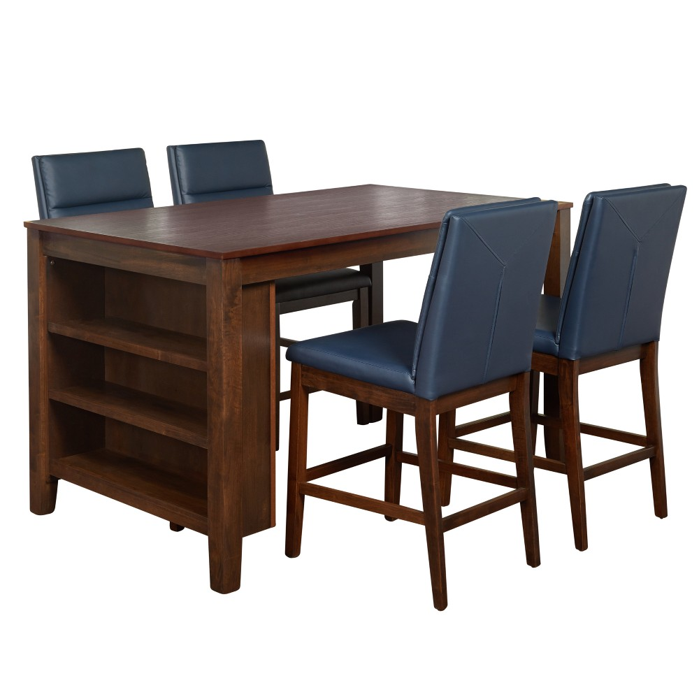 Keaton 5pc Counter Height Dining Set Espresso Navy (Blue) - Buylateral