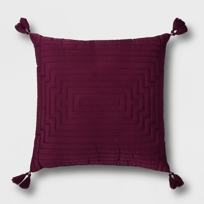 Merlot Quilted Dupioni with Tassel Throw Pillow - Opalhouse™