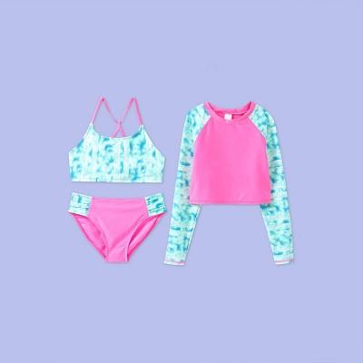 Girls' Long Sleeve Tie-Dye 3pc Cropped Rash Guard Bikini Set - More Than Magic™ Pink