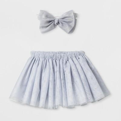 Baby Girls' Tutu and Headband Set - Cloud Island™ Gray
