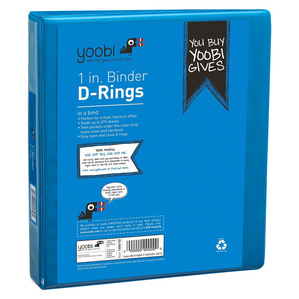 "Image of ""1"""" 275 Sheet Ring Binder Blue - Yoobi"""