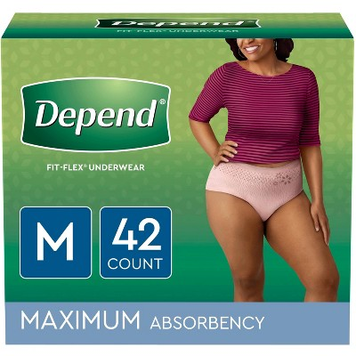 Depend FIT-FLEX Incontinence Underwear for Women - Maximum - Medium - Blush - 42ct