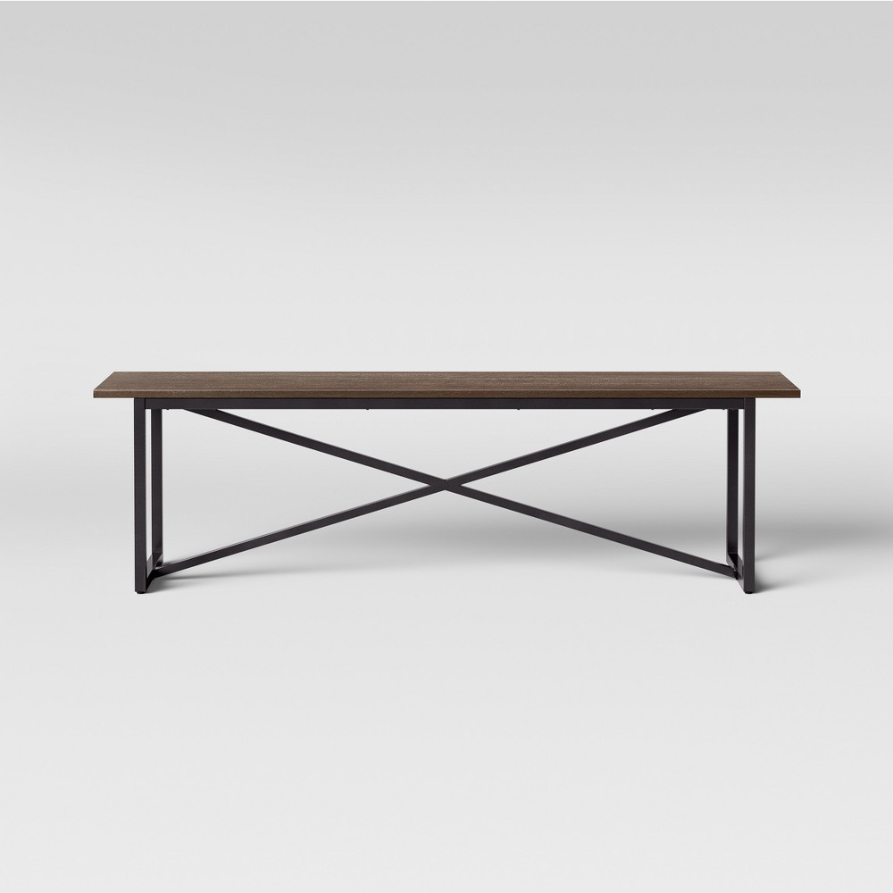 Wynnefield Mixed Material Trestle 62 Dining Bench - Threshold, Brown