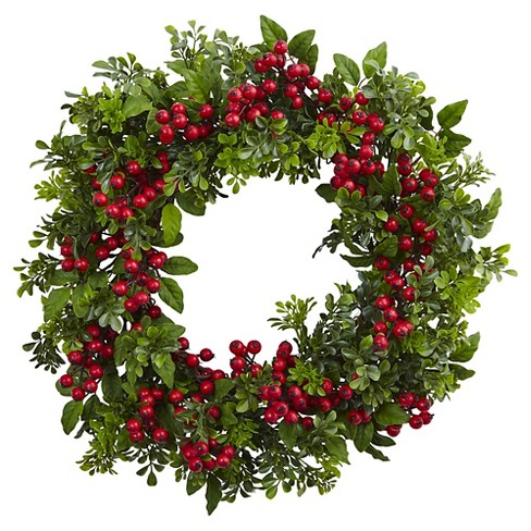 """Berry Boxwood Wreath (24"""") - Nearly Natural - image 1 of 3"""