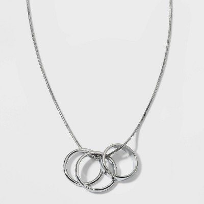 Pendant Ring Statement Necklace - A New Day™ Silver