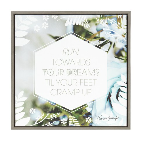 "Kate & Laurel 24""x24"" Sylvie Motivational Word By Leonora Jennifer Benza Framed Wall Canvas Gray - image 1 of 5"