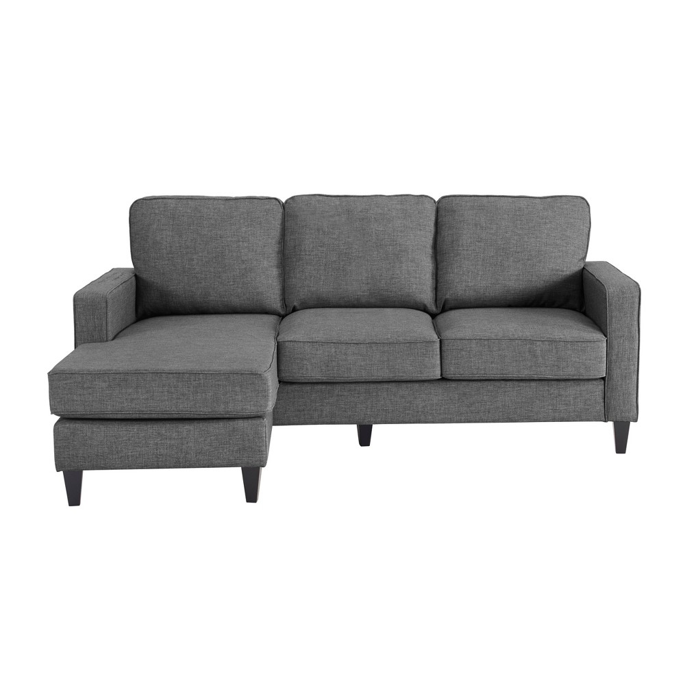 The Serta Harmon Sectional is perfect for adding big comfort to small spaces. If you love the look and versatility of a sectional but have a smaller living room, den, or basement, the Harmon is your happy solution. This cozy sectional comes in a variety of neutral colors to work with your existing decor, and the fabric upholstery is soft and inviting. So snuggle in for family movie night with the Serta Harmon Sectional! Color: Gray. Pattern: Solid.