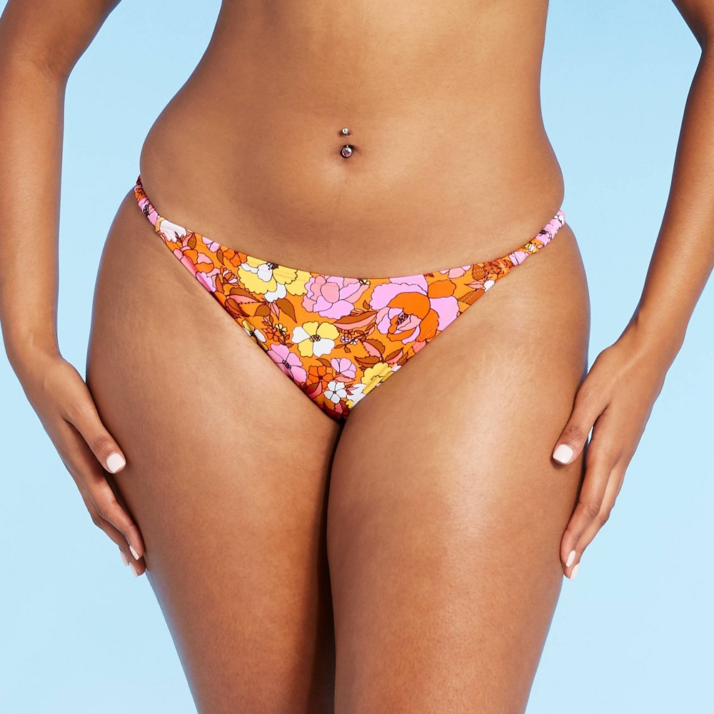 Juniors 39 Shirred Strappy Bikini Bottom Xhilaration 8482 Pink Retro Floral S