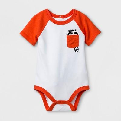 Baby Boys' Short Sleeve Raccoon Pocket Bodysuit - Cat & Jack™ White Newborn
