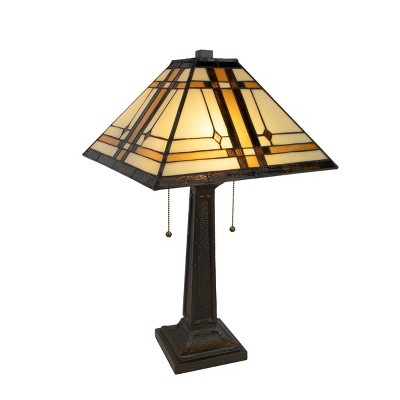 Tiffany Style Table Lamp-Mission Design Art Glass (Includes LED Light Bulb)