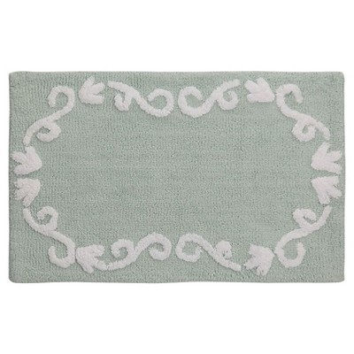 Boho Floral Bath Rug Green - Creative Bath