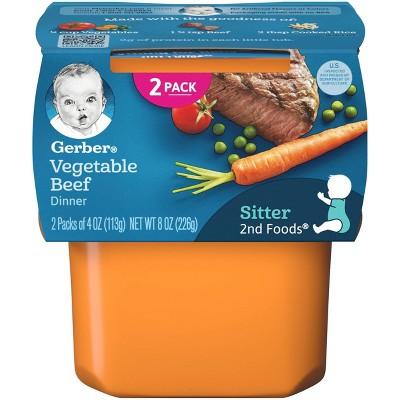 Gerber Sitter 2nd Foods Vegetable Beef Baby Meals Tubs - 2ct/4oz Each