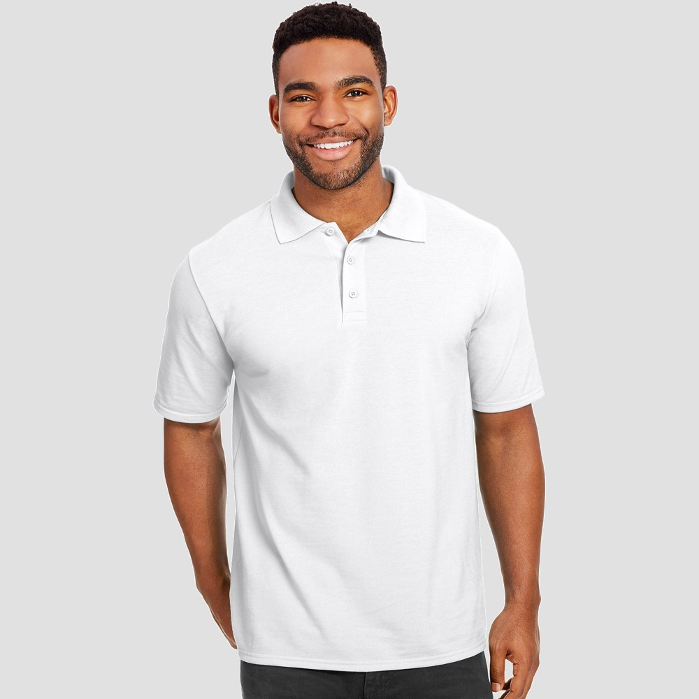 Hanes Men's Short Sleeve X-Temp Performance Pique Polo Shirt - White M