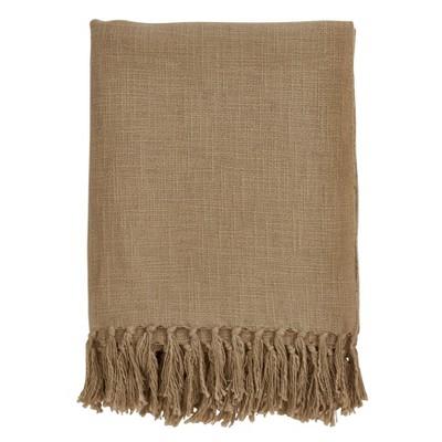 50 x60  Tasseled Throw Blanket Gold - Saro Lifestyle