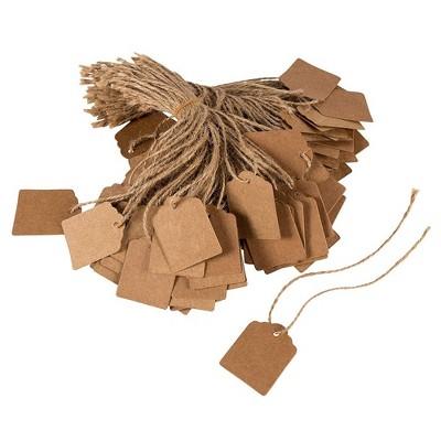 """Juvale 1000-Pack Brown Kraft Paper Gift Tags Jute Strings, Mini Writable Tags, Craft Hang 1.38""""x1.75"""""""