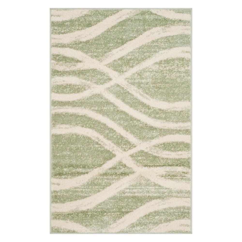 3'X5' Wave Accent Rug Sage/Cream - Safavieh, Brown Off-White