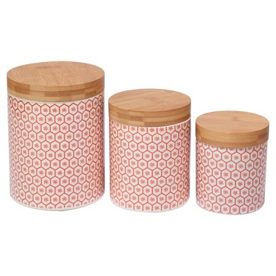 Certified International® Chelsea Mix & Match Ceramic 3pc Canister Set with Bamboo Lids Orange
