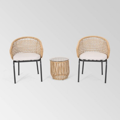 Arias 3pc Wicker Chat Set - Light Brown/Beige - Christopher Knight Home