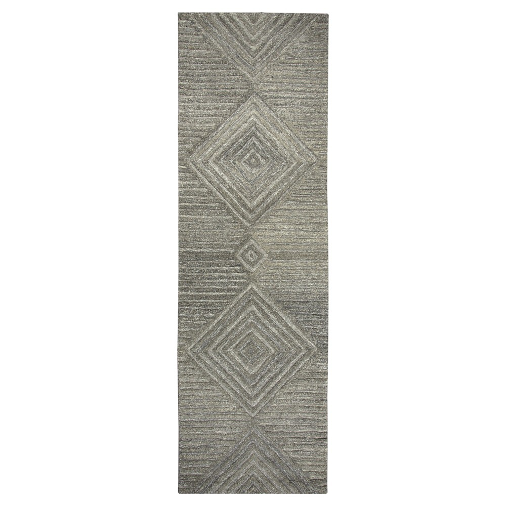 "Image of ""Geometric/Solid Runner - Gray - (2'6""""X8' Runner) - Rizzy Home"""