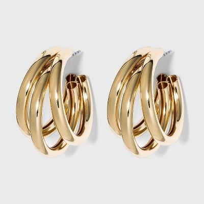 Multi Tube Hoop Earrings - A New Day™ Gold