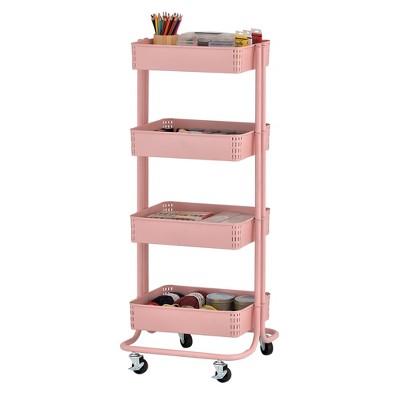 ECR4Kids 4-Tier Metal Rolling Utility Cart - Mobile Storage Organizer