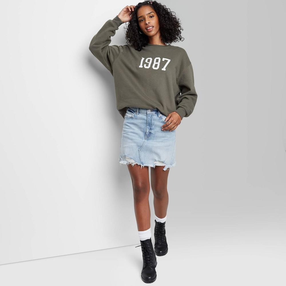Women 39 S High Rise Denim Mini Skirt Wild Fable 8482 Light Wash 16