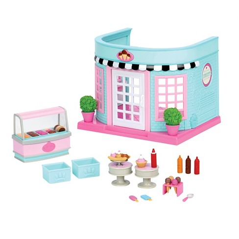 Li'l Woodzeez Shop Playset with Toy Food 23pc - Scoops & Sprinkles Ice Cream Parlor - image 1 of 3