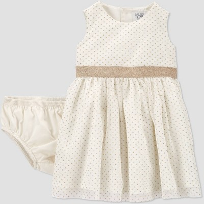 Baby Girls' Tulle Sleeveless Dress with Diaper Cover - Just One You® made by carter's Cream Newborn