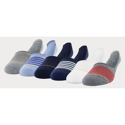 Signature Gold by GOLDTOE Men's Modern Essential Invisible Socks 6pk - White/Blue 6-12.5