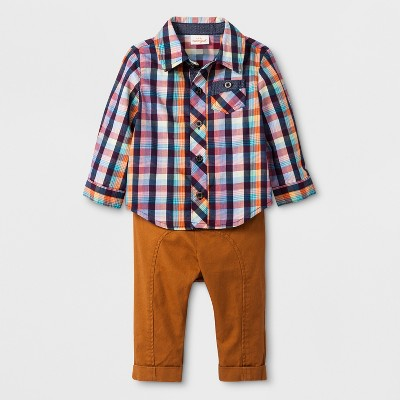 Baby Boys' 2pc Plaid Long Sleeve Bodysuit and Twill Pants Set - Cat & Jack™ Orange 0-3M