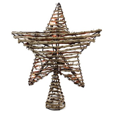 """Northlight 11.5"""" Lighted Brown Star Christmas Tree Topper - Clear Lights"""