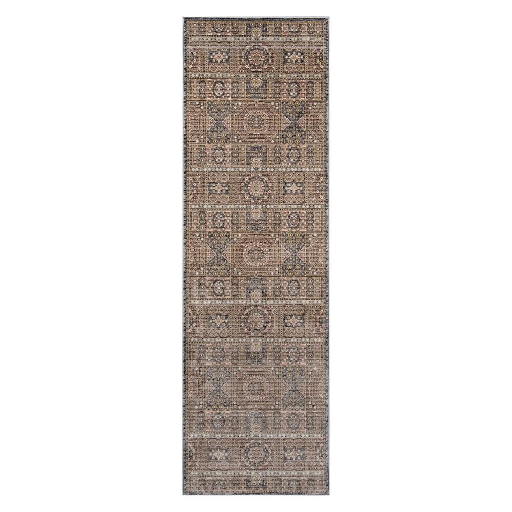 2'3X8' Tribal Design Loomed Runner Gray - Momeni