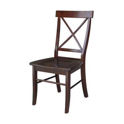 Set of 2 X Back Chairs with Solid Wood Seats Dark Brown - International Concepts