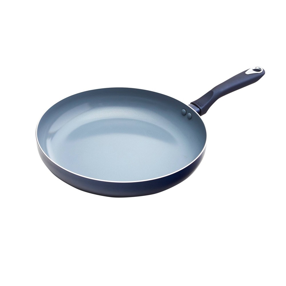 "Image of ""IMUSA 12"""" Ceramic Fry Pan with Soft Touch Handle Blue"""