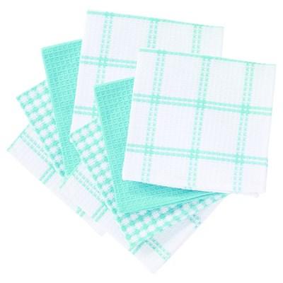 """8pk 12""""x13"""" Flat Waffle Kitchen Dish Cloth Teal - T-Fal"""