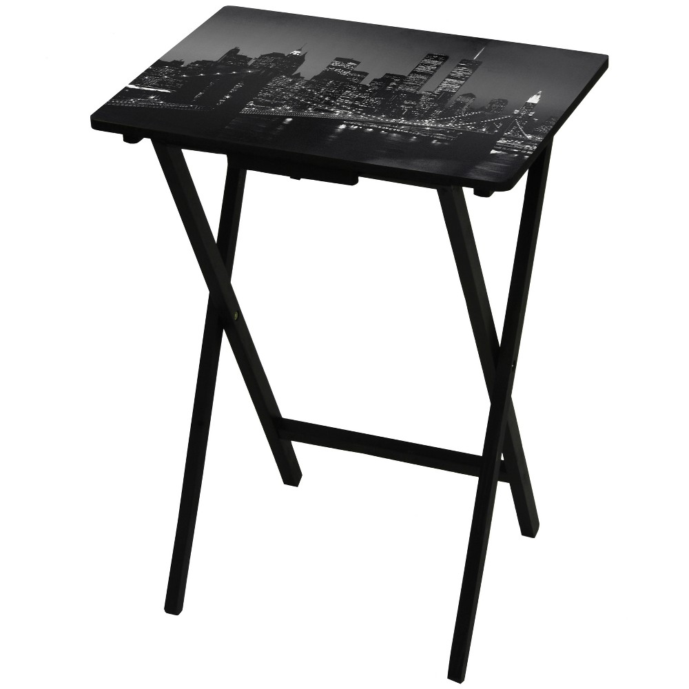 Image of Brooklyn Bridge TV Tray - Oriental Furniture, Size: Van Gogh Almond Blossoms, Black