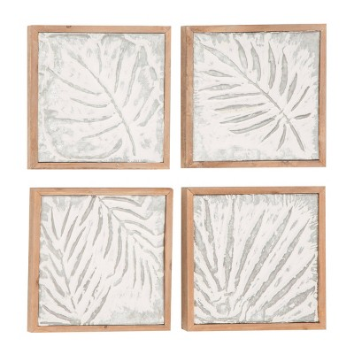Set of 4 Fossil Leaf Print in Wood Frame - Olivia & May
