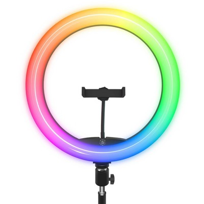 "Dixie & Charli 12"" Color LED Ring Light with 63"" Floor Stand, Phone Holder and Wired Remote - DC-RLCF-12C"