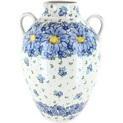 Blue Rose Polish Pottery Blue Starflower Large Jug Vase