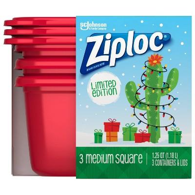 Ziploc Holiday Medium Square Storage Containers - Red - 3ct