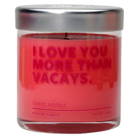 "Glass Jar ""I Love You More Than Vacays"" Candle Sweet Amber 10.8oz - image 1 of 1"