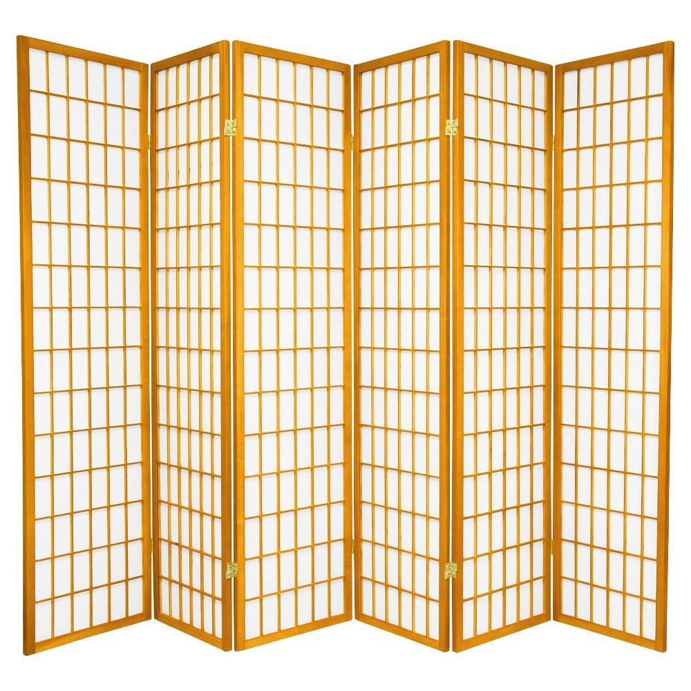 6 ft. Tall Window Pane Shoji Screen - Honey (6 Panels), Pumpkin