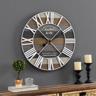 Maritime Farmhouse Planks Clock Gray - FirsTime