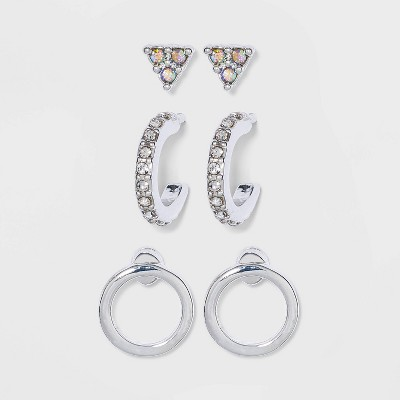 Cubic Zirconia Triangle Stud and Huggie Earring Set - A New Day™ Silver