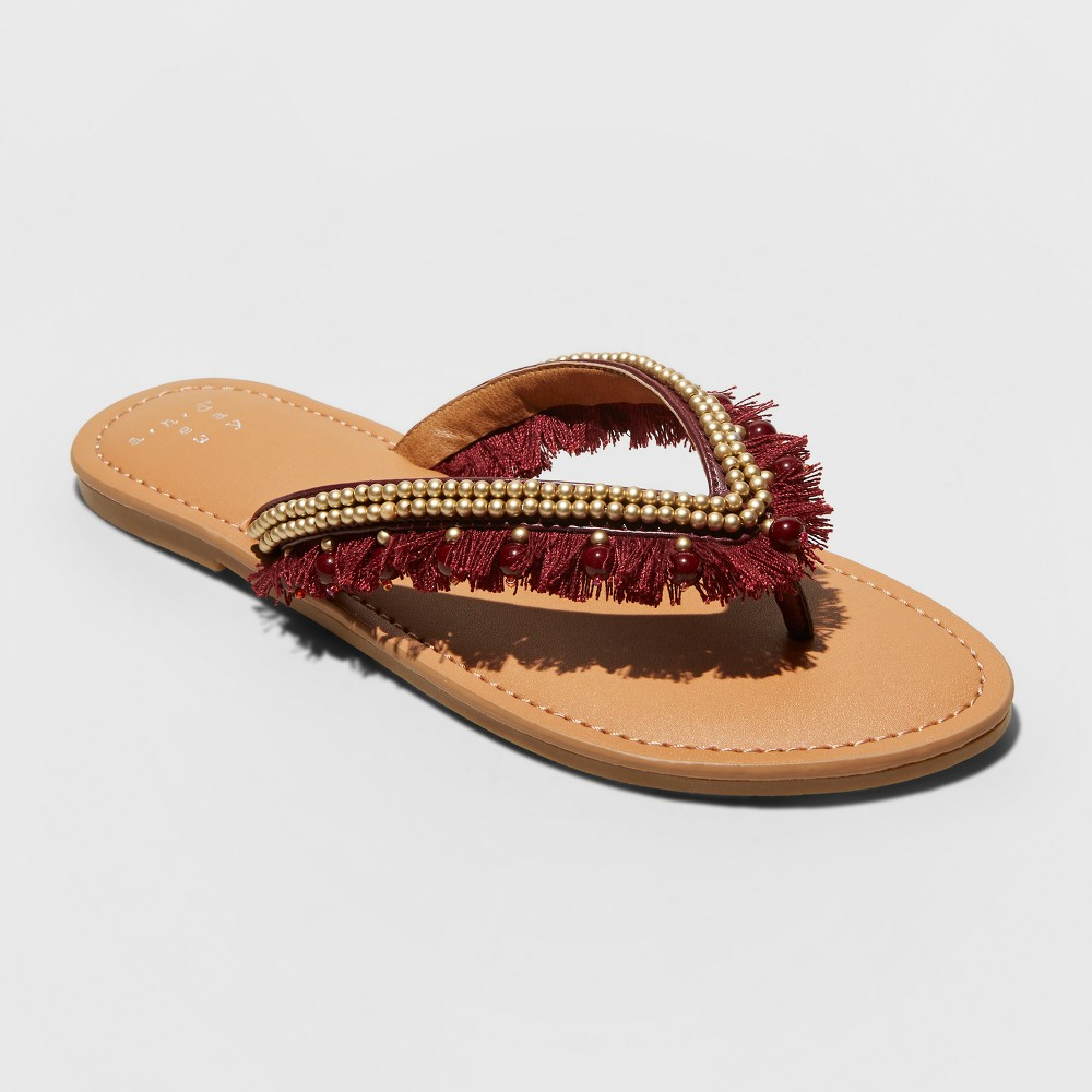 Women's Alexis Beaded Fringe Thong Sandals - A New Day Burgundy (Red) 6.5